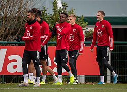 CARDIFF, WALES - Sunday, November 17, 2019: Wales' Tyler Roberts, Rabbi Matondo, Matthew Smith and Ryan Hedges during a training session at the Vale Resort ahead of the final UEFA Euro 2020 Qualifying Group E match against Hungary. (Pic by David Rawcliffe/Propaganda)
