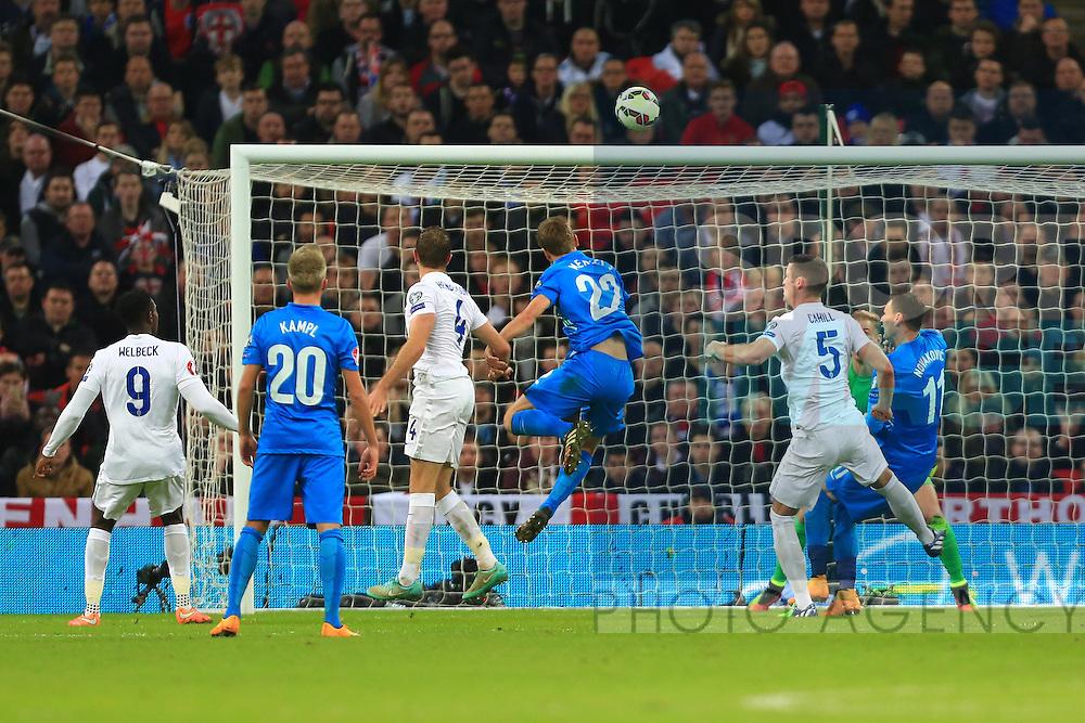 Jordan Henderson of England scores an own goal to give Slovenia the lead - England vs. Slovenia - UEFA Euro 2016 Qualifying - Wembley Stadium - London - 15/11/2014 Pic Philip Oldham/Sportimage