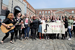 Members of the quartet Voices For Appeal wait at Dublin Castle for the result of the referendum on the 8th Amendment of the Irish Constitution which prohibits abortions unless a mother's life is in danger.