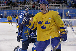 February 18, 2018 - Pyeongchang, KOREA - Sweden forward Patrik Zackrisson (19) reacts after scoring a goal past Finland goaltender Mikko Koskinen (19) in a hockey game between Sweden and Finland during the Pyeongchang 2018 Olympic Winter Games at Kwandong Hockey Centre. Sweden beat Finland 3-1. (Credit Image: © David McIntyre via ZUMA Wire)