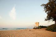 A closed lifeguard stand at Ali'i Beach Park in Hale'iwa, Hawaii.
