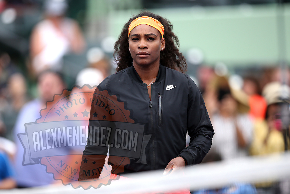 Serena Williams, of the United States, is seen prior to her match against Monica Niculescu, of Romania, during the Miami Open tennis tournament on Saturday, March 28, 2015 in Key Biscayne, Florida. (AP Photo/Alex Menendez)