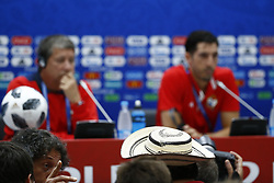 June 17, 2018 - Sochi, Russie - SOCHI, RUSSIA - JUNE 17 : Illustration - Hernan Dario Gomez head coach of Panama and Jaime Penedo goalkeeper of Panama during the press conference prior to the FIFA 2018 World Cup Russia group G phase match between Belgium and Panama at the Fisht Stadium on June 17, 2018 in Sochi, Russia, 17/06/2018 (Credit Image: © Panoramic via ZUMA Press)