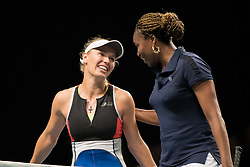 Caroline Wozniacki and Venus Williams at the 2018 Champions Battle at Parken, Copenhagen, Denmark, 30-04-2018. Photo Credit: Katja Boll/EVENTMEDIA.