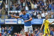 Portsmouth Midfielder, Gareth Evans (26) celebrates after an own goal makes it 2-0 during the EFL Sky Bet League 1 match between Portsmouth and Oxford United at Fratton Park, Portsmouth, England on 18 August 2018.