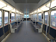 View inside an empty wagon of the new airtrain to and from JFK Airport NYC.