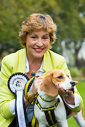 London, October 26 2017. Runner-up Rebecca Pow MP and Bonnie, a rescue Beagle at the annual Kennel Club and Dogs Trust Westminster Dog Of The Year competition that sees MPs and members of the House of Lords with their dogs as well as rescue dogs from the Dogs Trust. © Paul Davey