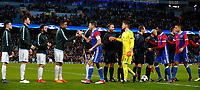 Football - 2017 / 2018 UEFA Champions League - Round of Sixteen, Second Leg: Manchester City (4) vs. FC Basel (0)<br /> <br /> Basel players shake hands with Manchester City players at The Etihad.<br /> <br /> COLORSPORT