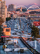 The route of the former Alaskan Way Viaduct, stadiums, Seattle, Washington, United States