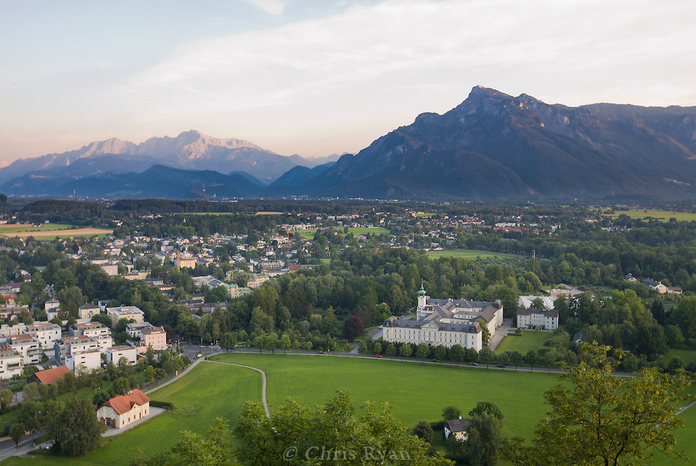 View to the Austrian Alps from Hohensalzburg Castle, Salzburg, Austria