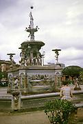 Historic classical style iron fountain manufactured in Glasgow and installed in 1896, Matriz Square, Praça da Matriz, city of Manaus, Brazil 1962