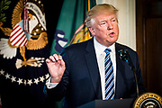 President Donald Trump delivers remarks before signing one executive order and two presidential memoranda on tax and Wall Street regulations in Washington, District of Columbia, U.S., on Friday, April 21, 2017. This was President Trump's first visit to the Treasury Department.