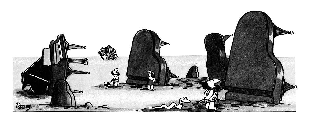 (prehistoric scene with upturned grand pianos)