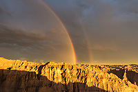 In front of me was a rainbow, lightning to the left, a colorful sunset behind me, and to my right were baby bighorn sheep prancing around. When the downpour ended and the sun came out, it was an overwhelming few minutes and I didn't know where to point my camera. I was just lucky to be at this overlook in Badlands National Park. When the storm was closing in I made a bad decision to turn down a very muddy road. But somehow my car made it back out after spinning the wheels for 5 minutes. My last 2 visits to this South Dakota national park were both very short and involved waiting out heavy thunderstorms, which isn't all that enjoyable in a tent. One of these days I'll return when the weather is actually nice. But bad weather makes for the best pictures.