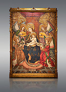 Gothic altarpiece of Madonna and Child and 4 angels, by Pere Garcia de Benavarri, circa 1445-1485, tempera and gold leaf on wood.  National Museum of Catalan Art, Barcelona, Spain, inv no: MNAC  15817. . .<br /> <br /> If you prefer you can also buy from our ALAMY PHOTO LIBRARY  Collection visit : https://www.alamy.com/portfolio/paul-williams-funkystock/gothic-art-antiquities.html  Type -     MANAC    - into the LOWER SEARCH WITHIN GALLERY box. Refine search by adding background colour, place, museum etc<br /> <br /> Visit our MEDIEVAL GOTHIC ART PHOTO COLLECTIONS for more   photos  to download or buy as prints https://funkystock.photoshelter.com/gallery-collection/Medieval-Gothic-Art-Antiquities-Historic-Sites-Pictures-Images-of/C0000gZ8POl_DCqE
