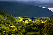Sunlight through the clouds, on Mt. Subasio, Assisi, Italy