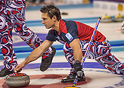 """Glasgow. SCOTLAND.  Norway's Thomas ULSRUD, guiding his """"Stone"""" towards the Hog Line during his """"Round Robin"""" Game. Le Gruyère European Curling Championships. 2016 Venue, Braehead  Scotland<br /> Tuesday  22/11/2016<br /> <br /> [Mandatory Credit; Peter Spurrier/Intersport-images]"""