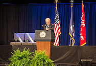 Vice President Joe Biden speaking at a memorial for law enforment officers slayed in Baton Rouge by a lone gunman following the killing of Alton Sterling.