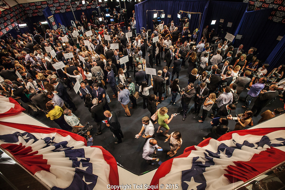 Spin room activity after the republican presidential debates at the Ronald Reagan Presidential Library.