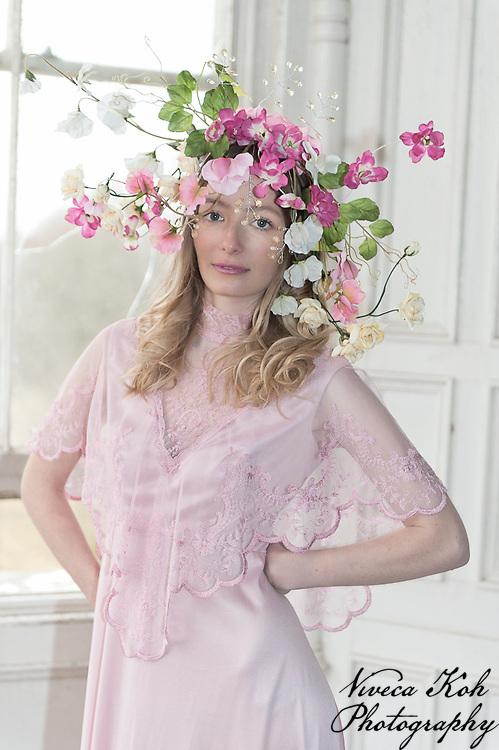 Model shoot at Lillesden School for Girls, model Clara Lynn Smith of Oxygen Models Management, flowers by Harriet Parry
