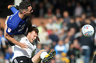 Sean Morrison of Cardiff City (L) battles in the air with Tim Ream of Fulham (R). EFL Skybet football league championship match, Fulham v Cardiff city at Craven Cottage in London on Saturday 9th September 2017.<br /> pic by Steffan Bowen, Andrew Orchard sports photography.