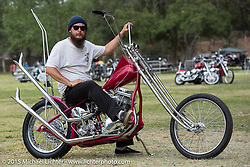 Arie VanSchyndel on his Born Free 7 invited builder custom 1950 Harley-Davidson EL Panhead bored to 93 inches. Oak Canyon Ranch. Silverado, CA. USA. Sunday, June 28, 2015.  Photography ©2015 Michael Lichter.