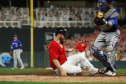 September 15, 2017 - Minneapolis, MN, USA - The Minnesota Twins' Chris Gimenez scores on a sacrifice fly by Joe Mauer against the Toronto Blue Jays in the third inning on Friday, Sept. 15, 2017, at Target Field in Minneapolis. (Credit Image: © Anthony Souffle/TNS via ZUMA Wire)