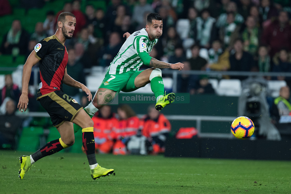 December 9, 2018 - Seville, Andalucía, Spain - Sanabria, Real Betis, and Galvez, Rayo, fight for the ball during the LaLiga match between Real Betis and Rayo in Benito Villamarín Stadium  (Credit Image: © Javier MontañO/Pacific Press via ZUMA Wire)