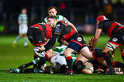 Dragons' Dan Babos in action during todays match<br /> <br /> Photographer Craig Thomas/Replay Images<br /> <br /> EPCR Champions Cup Round 4 - Newport Gwent Dragons v Newcastle Falcons - Friday 15th December 2017 - Rodney Parade - Newport<br /> <br /> World Copyright © 2017 Replay Images. All rights reserved. info@replayimages.co.uk - www.replayimages.co.uk