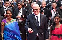 Kalieaswari Srinivasan, director Jacques Audiard, Claudine Vinasitamby, at the gala screening for the film Dheepan at the 68th Cannes Film Festival, Thursday May 21st 2015, Cannes, France.