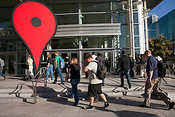Thousands of attendees arrive at Moscone West for the annual 3-day  Google I/O Developer Conference in San Francisco, California.