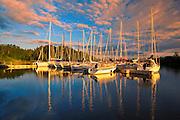 Sailboats at sunset<br /> Parc national de la Pointe-Taillon<br /> Quebec<br /> Canada