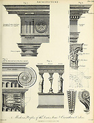 Copperplate engraving of Modern Profiles of the Doric, Ionic and Corinthian Orders From the Encyclopaedia Londinensis or, Universal dictionary of arts, sciences, and literature; Volume II;  Edited by Wilkes, John. Published in London in 1810