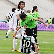 Altayspor's Burak CALIK (B) and Konyaspor's Zafer DEMIR (C) during their Turkish soccer Play Off final match Altayspor between Konyaspor at Ataturk Olympic Stadium in Istanbul Turkey on Sunday, 23 May 2010. Photo by TURKPIX