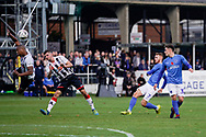 Tom Naylor of Portsmouth shot is blocked during the The FA Cup 1st round match between Maidenhead United and Portsmouth at York Road, Maidenhead, United Kingdom on 10 November 2018.