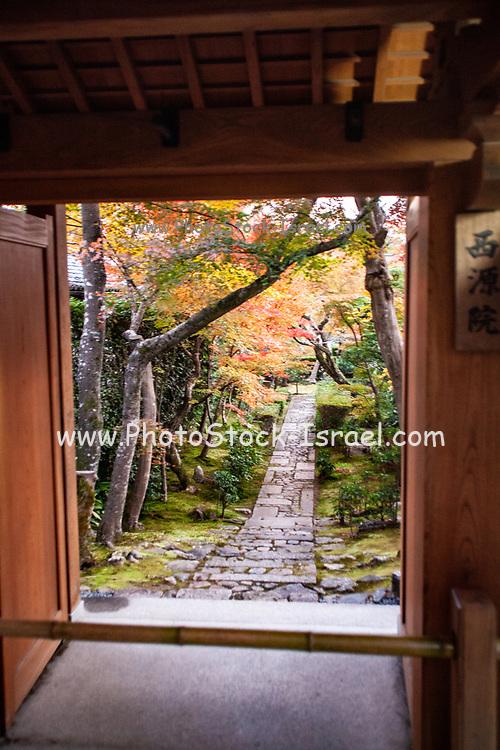 Japan, Kyoto, Zen Garden at the Zen Buddhist temple Kinkaku-ji (Temple of the Golden Pavilion), AKA Rokuon-ji (Deer Garden Temple)