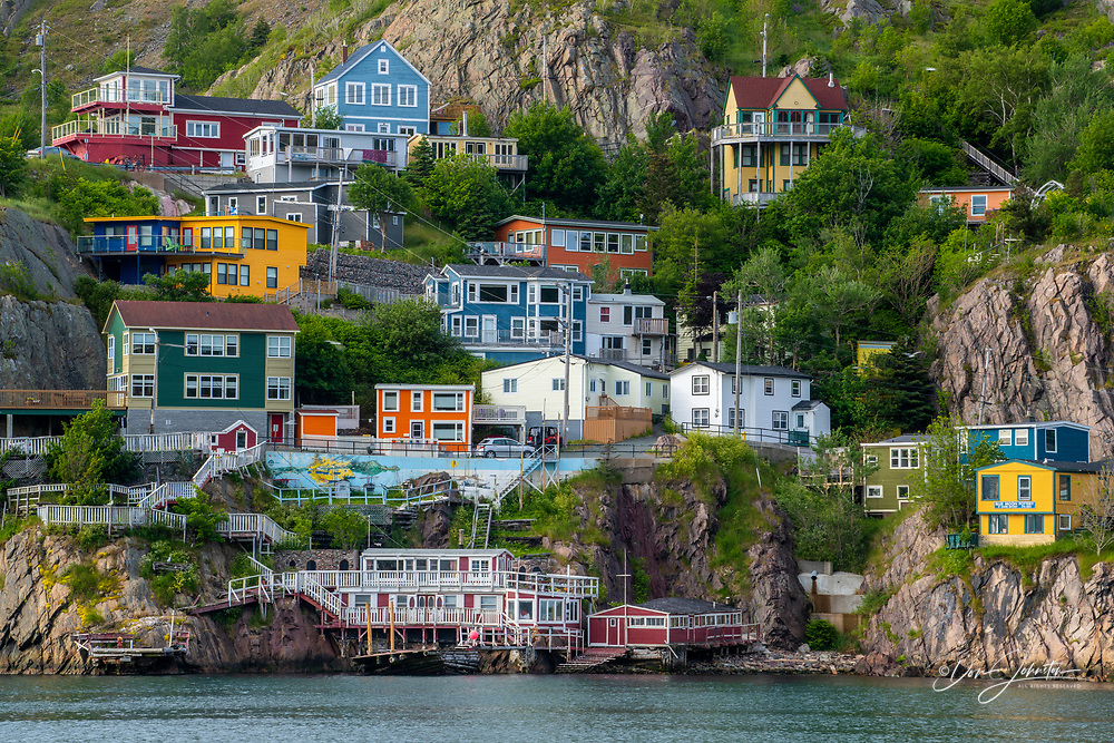 Colourful houses below Signal Hill, St. Johns, Newfoundland and Labrador NL, Canada