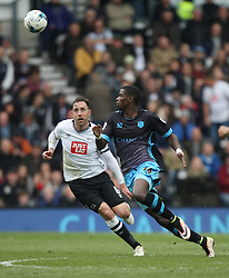 Richard Keogh of Derby County (L) and Lucas Joao of Sheffield Wednesday in action - Mandatory by-line: Jack Phillips/JMP - 23/04/2016 - FOOTBALL - iPro Stadium - Derby, England - Derby County v Sheffield Wednesday - Sky Bet Championship