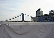 © licensed to London News Pictures. New York, USA  28/05/11.  Manhattan Bridge from Brooklyn Bridge. Photo credit should read Stephen Simpson/LNP
