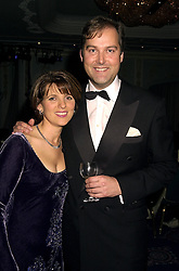 The HON.HARRY & MRS HERBERT he is the son of the Earl of Carnarvon, at an award dinner in London on 15th November 2000.OJE 90