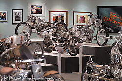 "Kaichiroh ""Kross"" Kuroso, Pat Patterson, and Ken Nagai's custom bikes in the Naked Truth exhibition at the Buffalo Chip gallery during the 75th Annual Sturgis Black Hills Motorcycle Rally.  SD, USA.  August 5, 2015.  Photography ©2015 Michael Lichter."