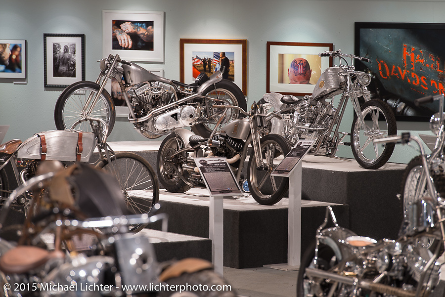 """Kaichiroh """"Kross"""" Kuroso, Pat Patterson, and Ken Nagai's custom bikes in the Naked Truth exhibition at the Buffalo Chip gallery during the 75th Annual Sturgis Black Hills Motorcycle Rally.  SD, USA.  August 5, 2015.  Photography ©2015 Michael Lichter."""