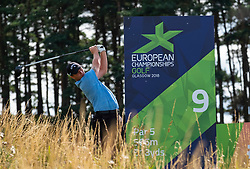 Gleneagles, Scotland, UK; 7 August, 2018.  Practice day at Gleneagles for the European Championships 2018. Pictured Callum Shinkwin tee shot at the the 9th hole