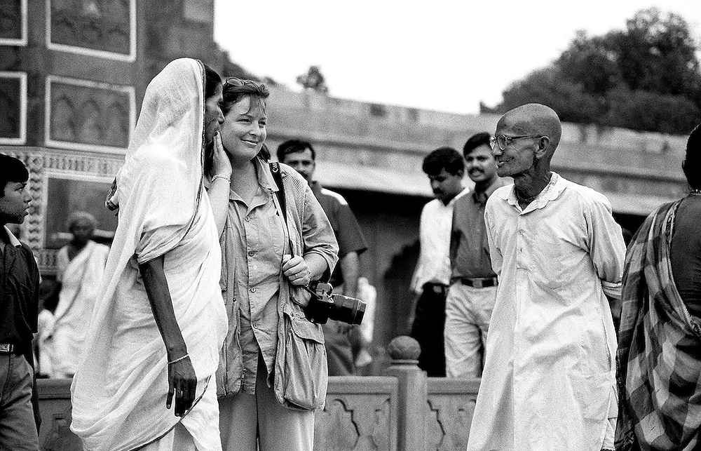 British photographer Jayne Fincher seen on assignment in India in 2000.