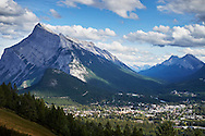 A summer time view of Mount Rundle and the town of Banff, Alberta, Canada.