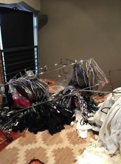 These pictures show Amber Heard's trashed closet in a Los Angeles penthouse she once lived in with then-husband Johnny Depp, allegedly the handiwork of Depp himself after he went on a rampage. In the photographs clothing racks and designer clothing, shoes and bags are seen strewn across the floor of the $3million apartment — one of five connected penthouses once owned by the actor in the Eastern Columbia building in Downtown Los Angeles. Heard and her legal team have submitted the photographs in response to a defamation lawsuit filed by Depp against his ex-wife. The alleged incident happened in March 2015 — just a month after the couple, who met on the set of The Rum Diaries — got married. Heard's lawyerEric George said on Thursday (April 11): 'Johnny Depp physically and verbally abused Amber Heard. Since their divorce, Mr. Depp has continued to publicly harass Ms. Heard, and attempted to gaslight the world by denying his abuse. 'It is long past time for Mr. Depp's despicable conduct to end. Today, we presented to the court irrefutable evidence of Mr. Depp's abuse.' The damning images were shared in text messages between someone who worked for the couple at the time and an employee of the apartment complex. The individual working for the couple wrote to the apartment complex employee, named as Kevin: 'Good morning sir... So ... Um ... Johnny destroyed Amber's closet. And there's some other damage to PH5. 'You're the person I should talk to about that, correct?' Kevin replied that he would deal with the situation, prompting the Heard-Depp employee to reply: 'Insanity. Just f***ing insanity.' This text exchange happened on March 23, 2015, a month after Heard and Depp exchanged wedding vows on a private island in the Bahamas. Heard and her legal team hopes this newly submitted evidence will persuade a judge in Virginia, where the case has been filed, to dismiss the $50million defamation lawsuit filed by Depp in response to an op-ed she wrote for The W
