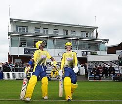 Hampshire batsmen Michael Carberry and Tom Alsop walk out to bat.  - Mandatory by-line: Alex Davidson/JMP - 19/06/2016 - CRICKET - Cooper Associates County Ground - Taunton, United Kingdom - Somerset v Hampshire - NatWest T20 Blast