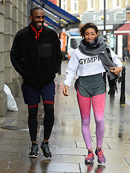 Embargoed to 0001 Thursday November 08 Strictly Come Dancing contestants Charles Venn and Karen Clifton arrive to practice their latest dance routine, the Charleston, at a dance studio in London.
