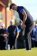 Conor Gough (GB&I) on the 18th during Day 1 Singles of the Walker Cup at Royal Liverpool Golf CLub, Hoylake, Cheshire, England. 07/09/2019.<br /> Picture: Thos Caffrey / Golffile.ie<br /> <br /> All photo usage must carry mandatory copyright credit (© Golffile | Thos Caffrey)