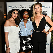Claudia Sowaha,Tonique Campbell and Lilly Douse Arrivers at Nina Naustdal catwalk show SS19/20 collection by The London School of Beauty & Make-up at Bagatelle on 26 Feb 2019, London, UK.